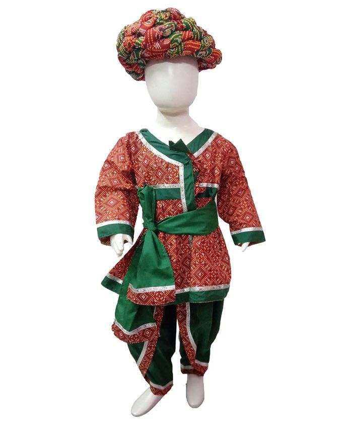 BookMyCostume Rajasthani Indian State Fancy Dress Costume With Pagdi - Red & Green