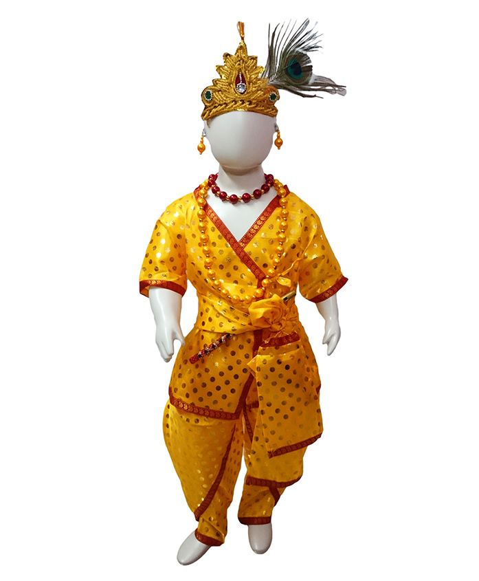 BookMyCostume Shri Krishna Fancy Dress Costume With Accessories - Yellow