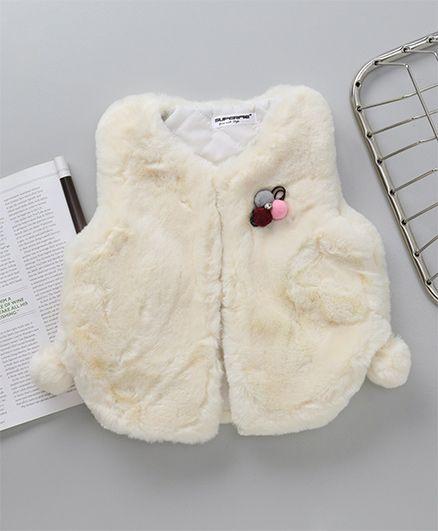Superfie Brooch Applique Fur Jacket - Beige