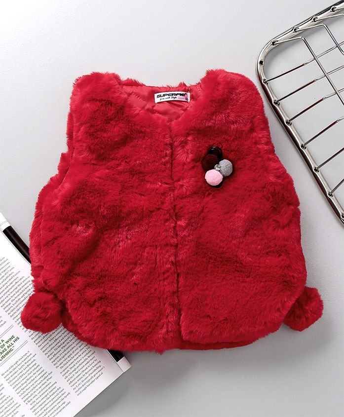 Superfie Brooch Applique Fur Jacket - Red