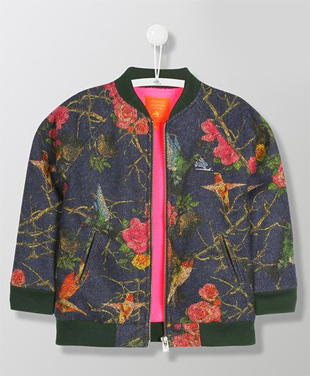 Cherry Crumble California Full Sleeves Zipper Jacket - Dark Blue
