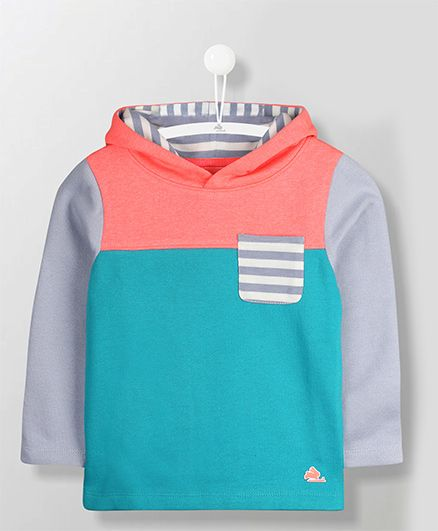 Cherry Crumble California Long Sleeves Beach Hoodie - Blue & Peach