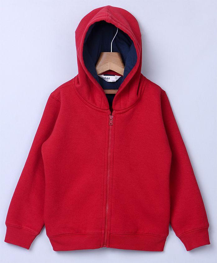 Beebay Full Sleeves Hooded Sweat Jacket - Red