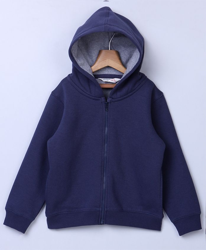 Beebay Full Sleeves Hooded Sweat Jacket - Navy Blue