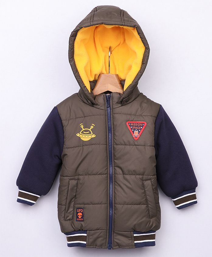 Beebay Full Sleeves Hooded Jacket Mission SPace Patch - Olive Green