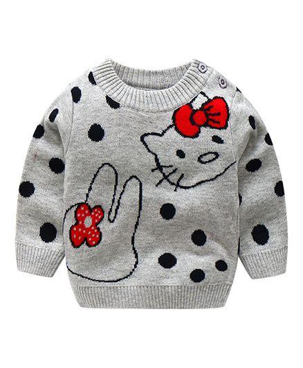 Pre Order - Awabox Polka Dot Print Sweater - Grey