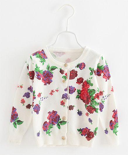 Pre Order - Awabox Floral Print Cardigan - White