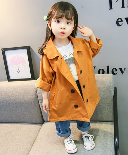 Pre Order - Awabox Buttoned Solid Over Coat - Mustard