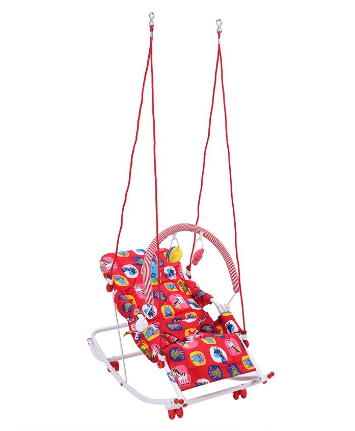 New Natraj Rocko Swing With Toys Animal Print - Red