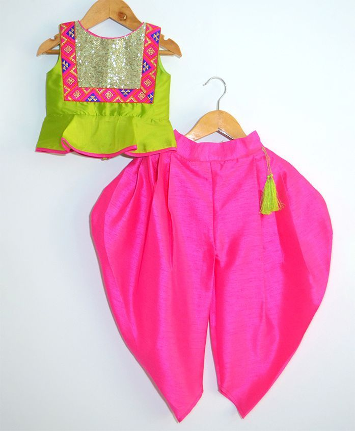 Tutus By Tutu Peptum Crop Top With Dhoti Set - Green & Pink