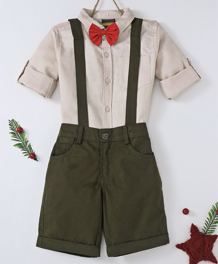 Rikidoos Full Sleeves Shirt With Bow & Shorts With Suspenders Set - Off White & Dark Green