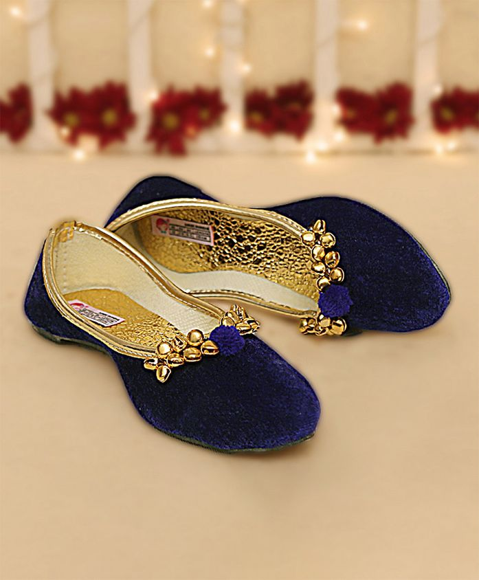 Dchica Solid Velvet Mojaris With Ghunghroo - Royal Blue