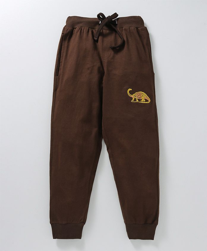 KiddoPanti Full Length Lounge Pant With Drawstrings Dino Embroidered - Brown