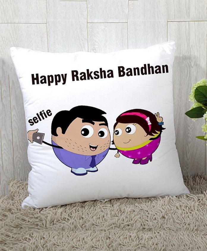Stybuzz Raksha Bandhan Rakhi Gift Cushion Cover - Whiye Purple
