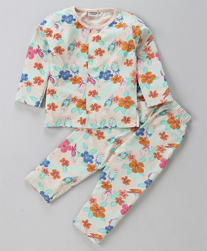 Wonderchild Floral Print Night Suit Set - Light Pink
