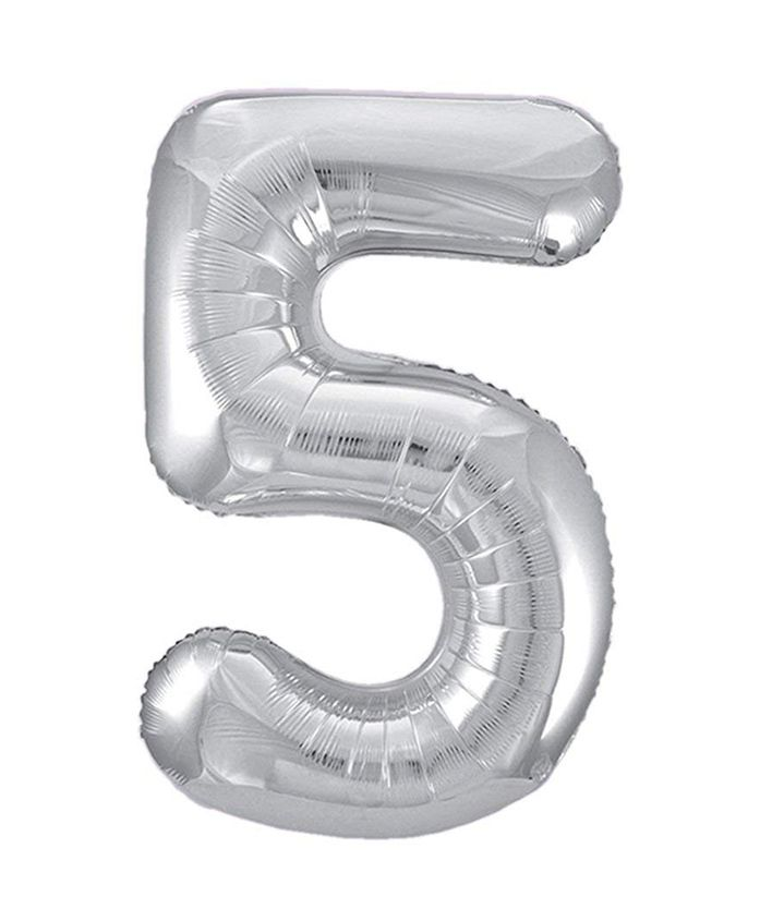 Amfin Foil Balloon Number 5 - Silver
