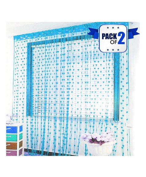 Amfin Party Windows Curtain Pack of 2 - Blue