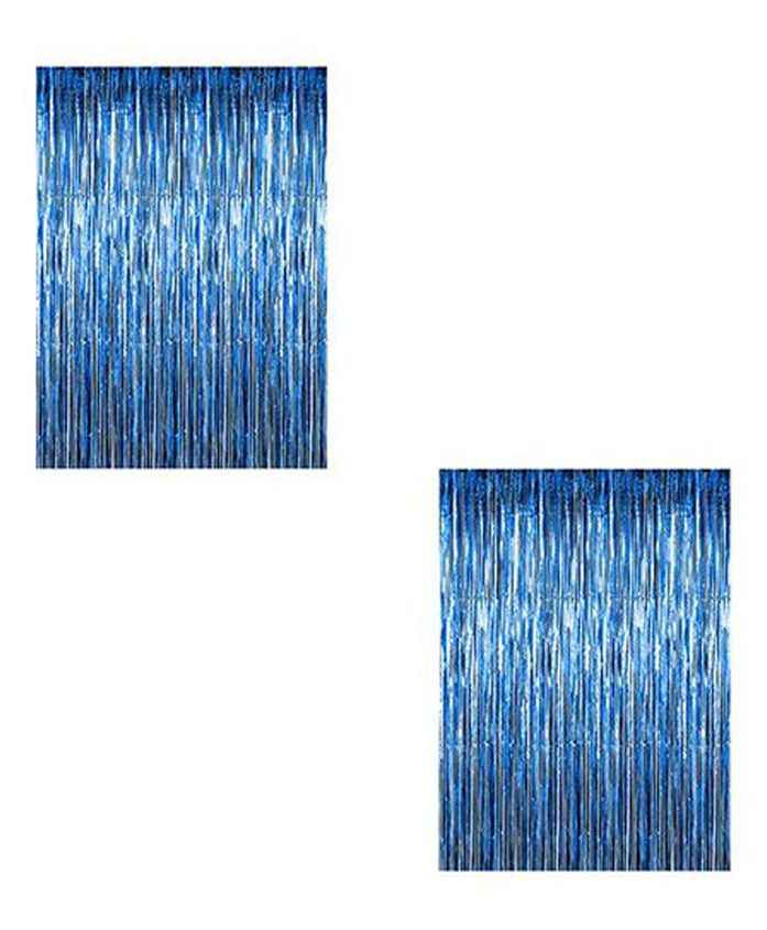 AMFIN Metallic Fringe Foil Curtain Pack of 2 - Blue