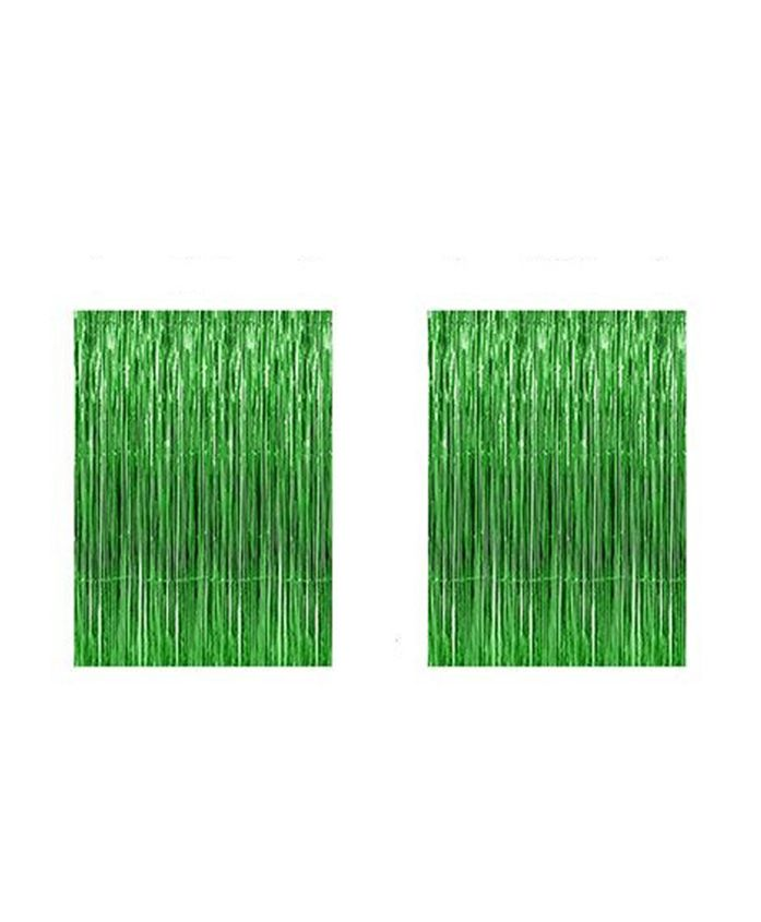 AMFIN Metallic Fringe Foil Curtain Green - Pack of 2