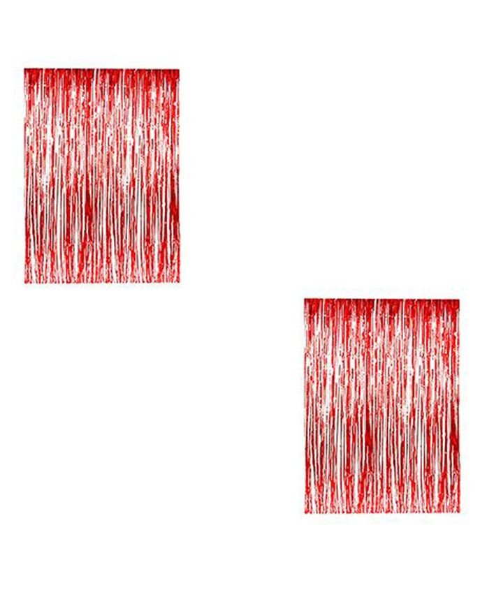 AMFIN Metallic Fringe Foil Curtain Red - Pack of 2
