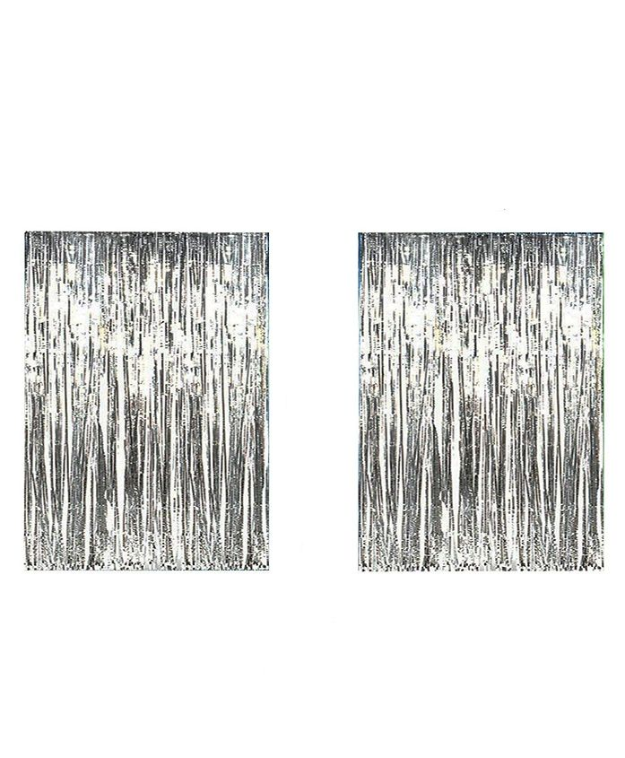 AMFIN Metallic Fringe Foil Curtain Silver - Pack of 2