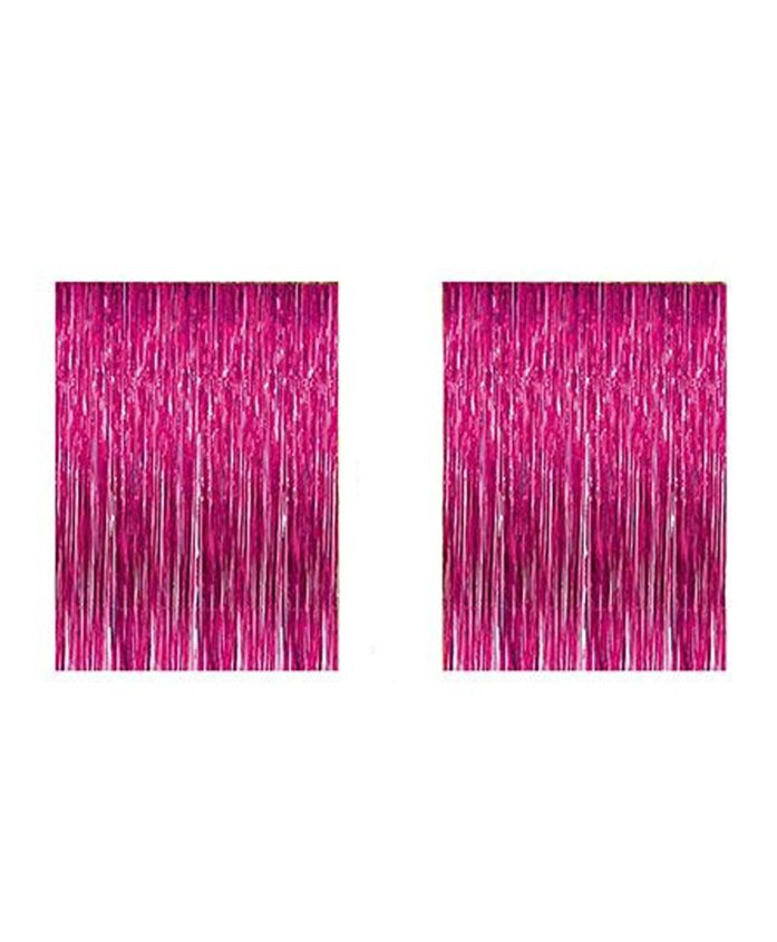 AMFIN Metallic Fringe Foil Curtain Dark Pink - Pack of 2