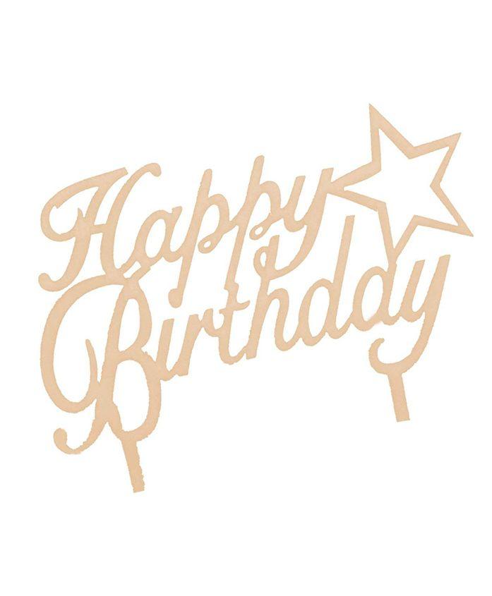 Amfin happy Birthday Cake Topper - Golden