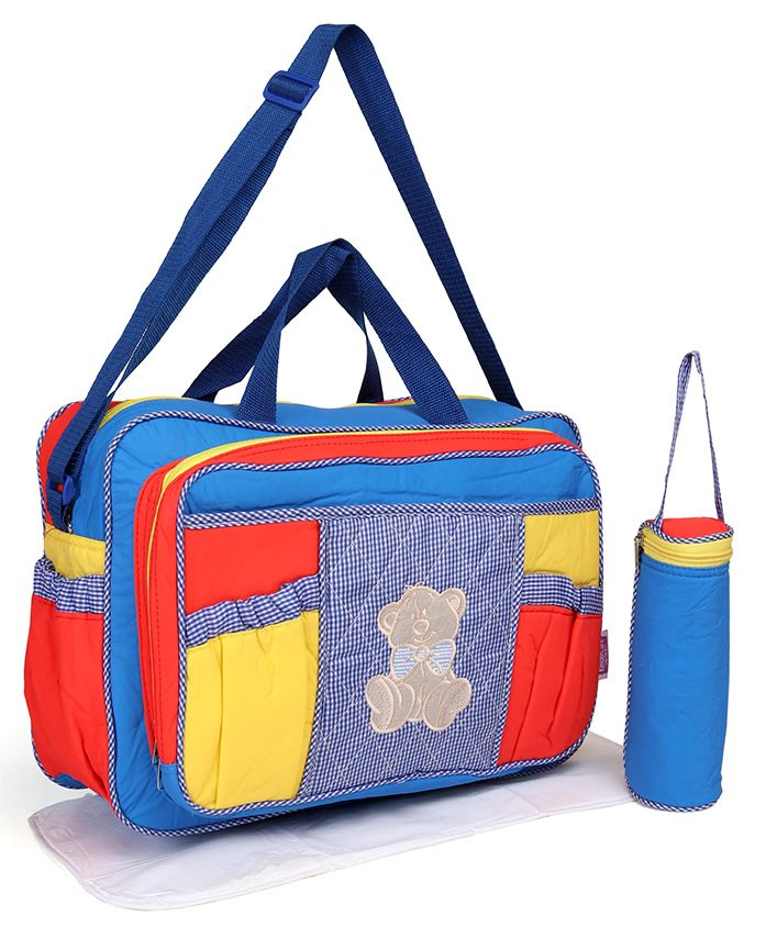 Diaper Bag With Changing Mat & Bottle Cover - Multicolour