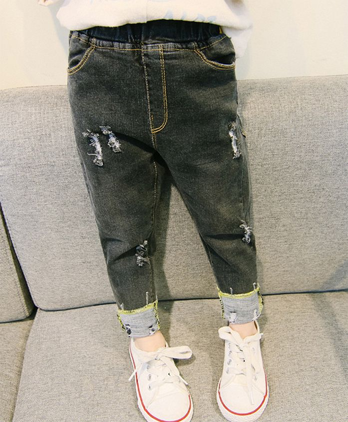 Pre Order - Awabox Distressed Full Length Jeans - Black