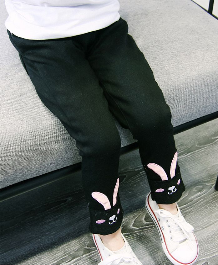 Pre Order - Awabox Bunny Themed Ankle Length Jeans - Black