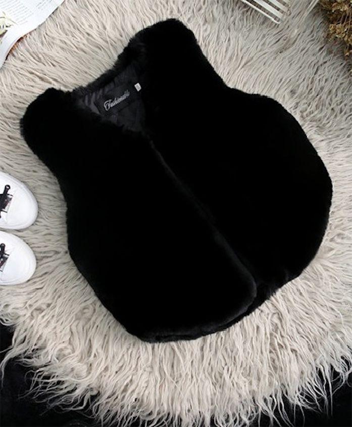 Pre Order- Awabox Curved Hem Sleeveless Jacket - Black