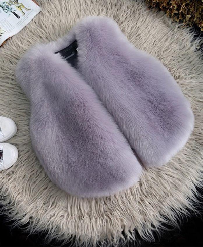 Pre Order- Awabox Curved Hem Sleeveless Jacket - Light Purple