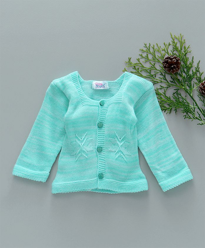 Little Angels Full Sleeves Sweater Star Design - Sea Green