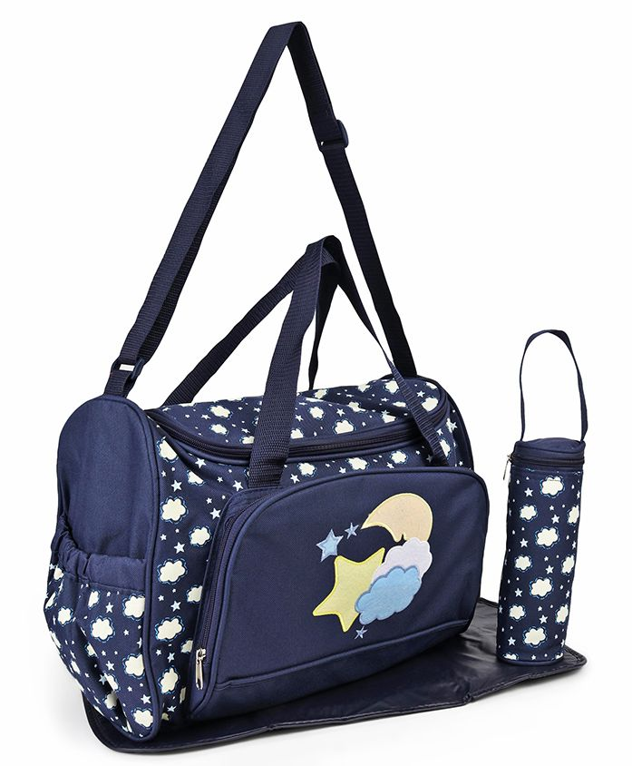 Diaper Bag With Changing Mat & Bottle Cover Star Print - Navy Blue