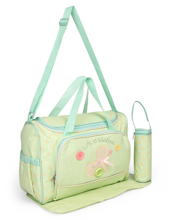 Diaper Bag With Changing Mat & Bottle Cover Duck Print - Green
