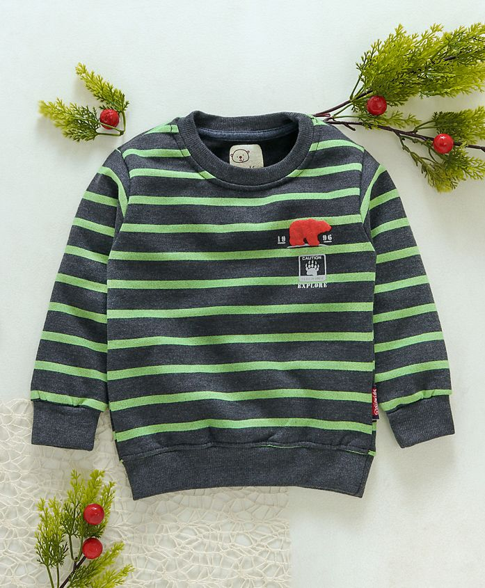 Olio Kids Full Sleeves Striped Sweatshirt - Green Black