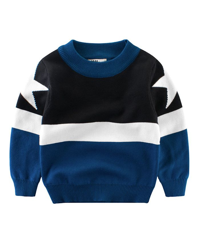 Pre Order - Awabox Star Printed Long Sleeved Sweat Shirt - Blue