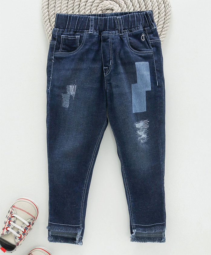 Gini & Jony Pull On Distressed Jeggings - Blue
