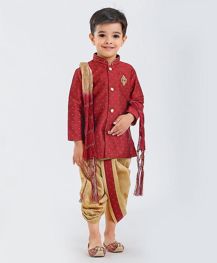 Little Aryan Full Sleeves Jari Embroidered Kurta & Dhoti Set With Stole - Maroon Golden