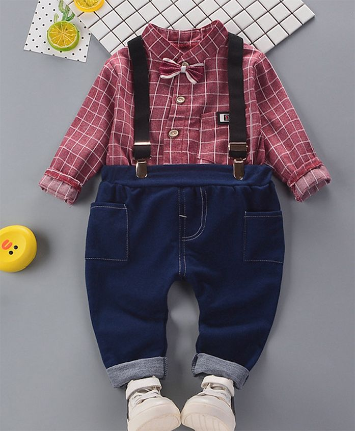 Pre Order - Awabox Checks Shirt With Full Length Jeans & Suspenders - Maroon