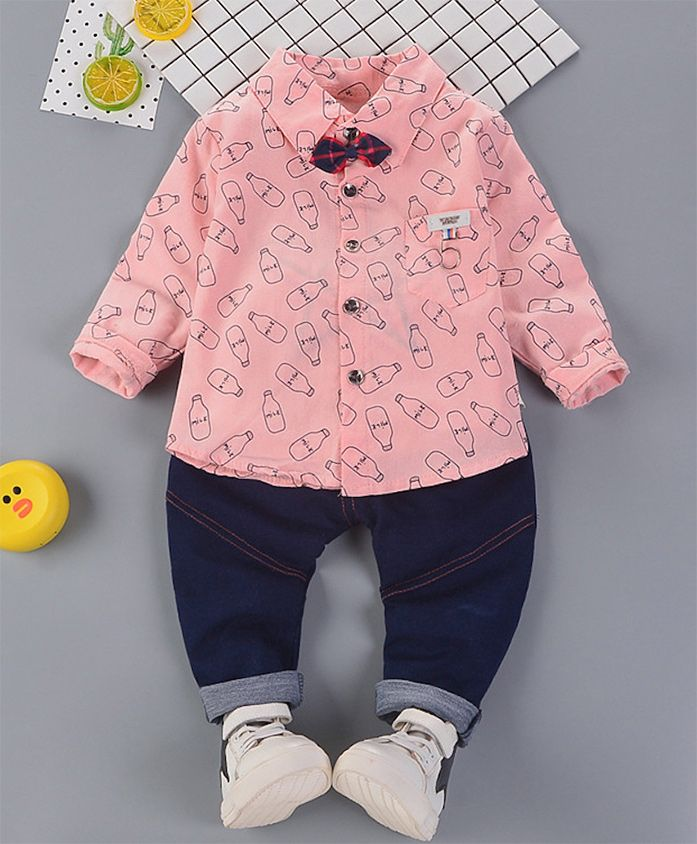 Pre Order - Awabox Printed Shirt With Full Length Jeans Set - Pink