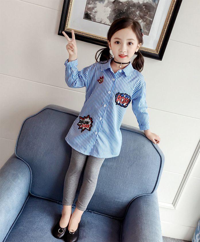 Pre Order - Awabox Sequin Embellished Shirt - Blue
