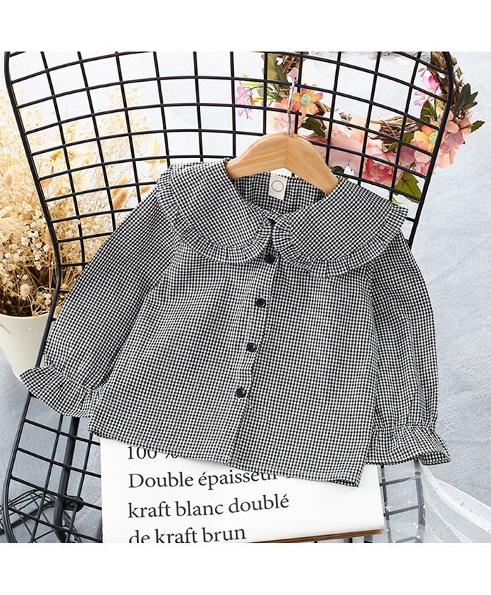 Pre Order - Awabox Checkered Ruffled Long Sleeved Shirt - Black