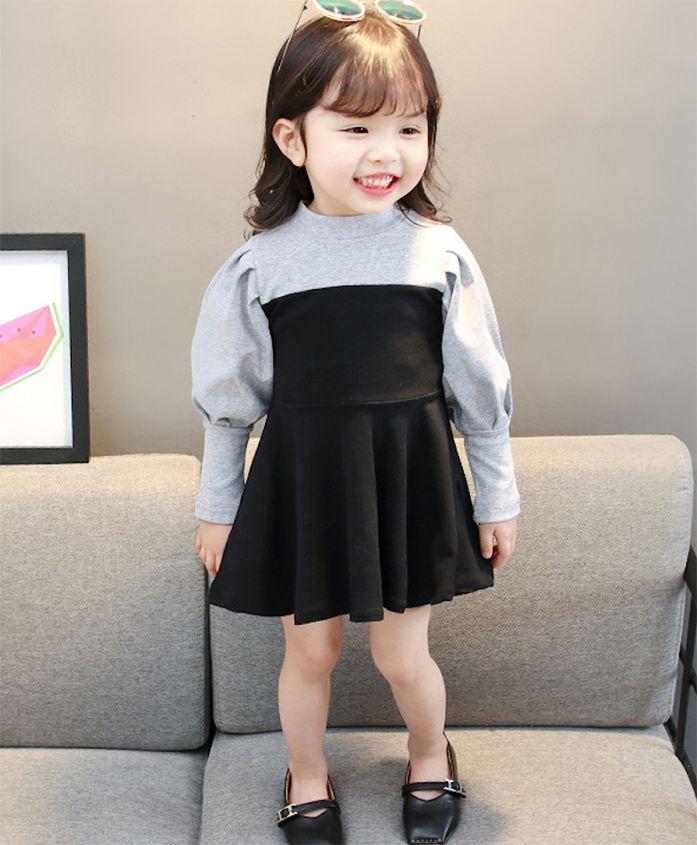 Pre Order - Awabox Puff Sleeves Flare Dress - Black