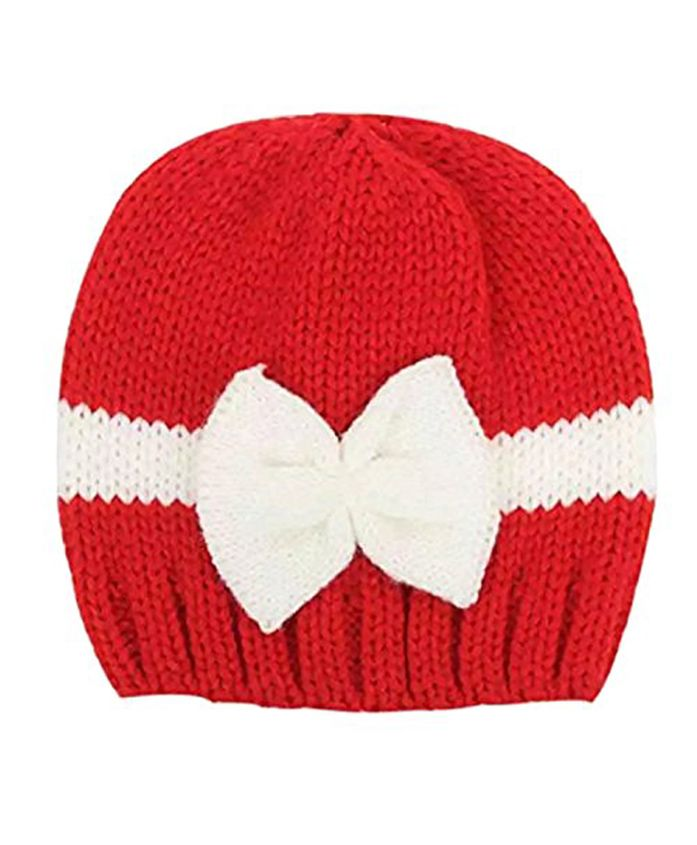 Ziory Beanie Cap With Bow Applique - Red & White