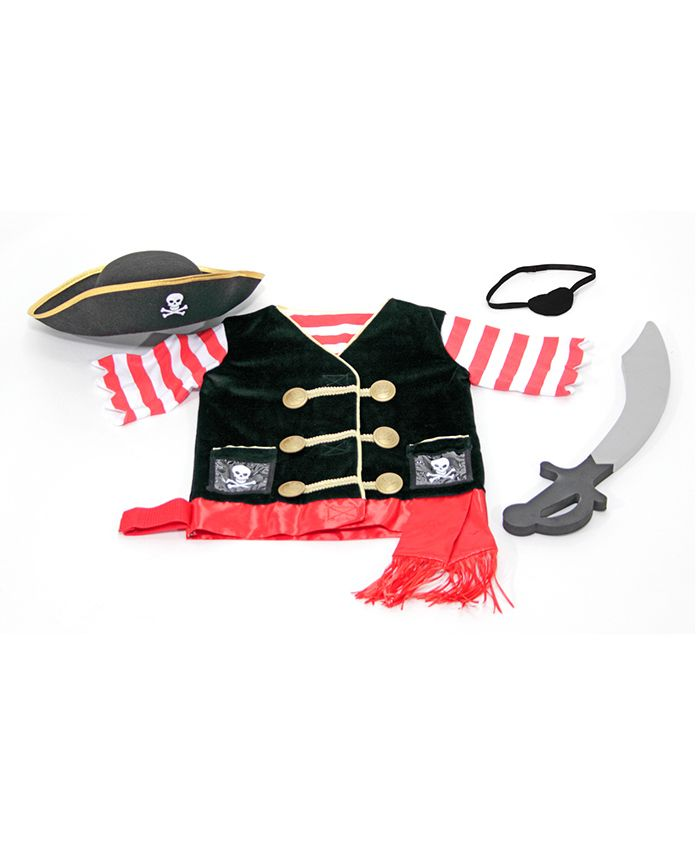 Melissa & Doug Pirate Role Play Costume Set - Red & Black