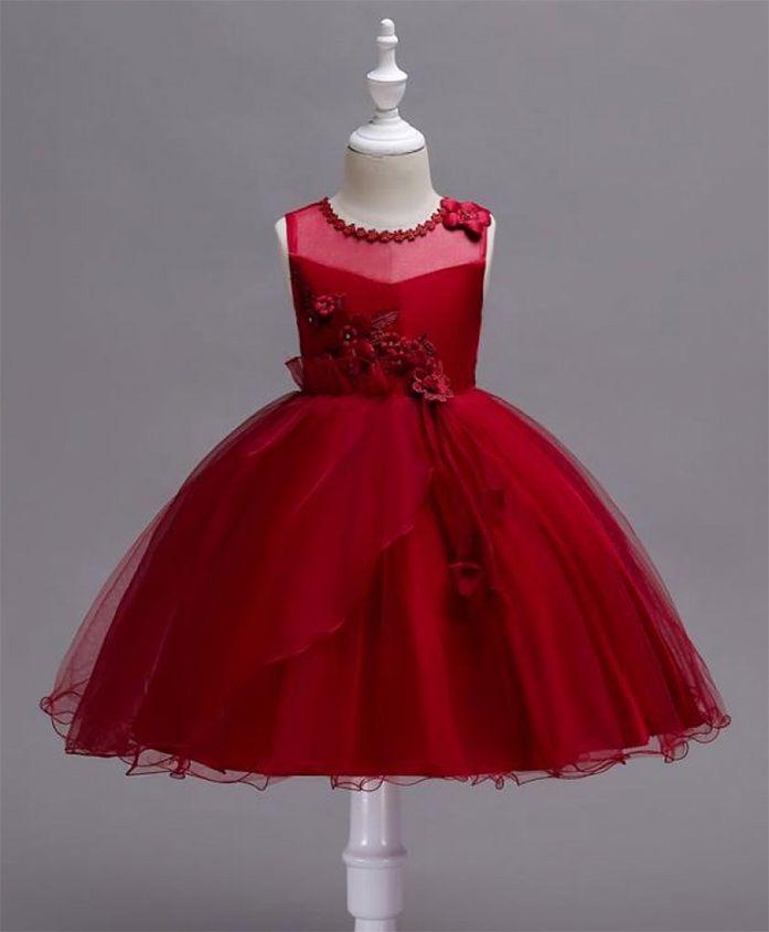 Pre Order - Wonderland Flower Applique Lace Dress - Maroon