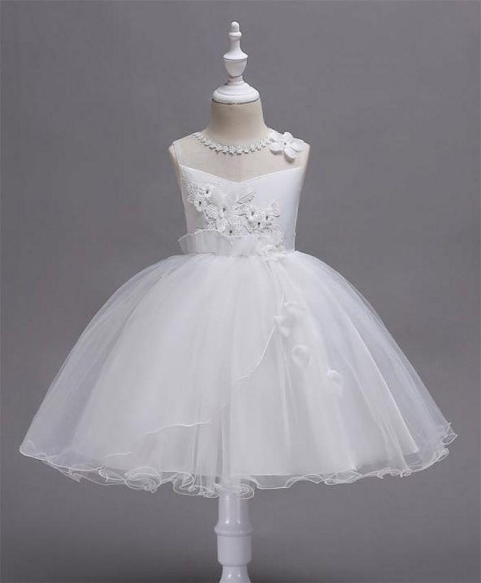 Pre Order - Wonderland Flower Applique Lace Dress - White