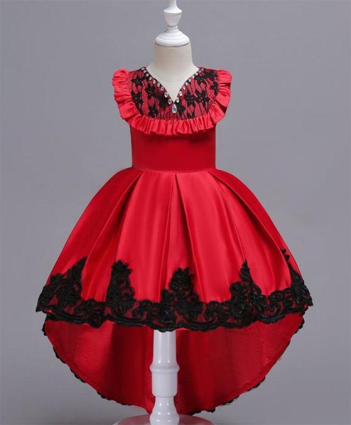Pre Order - Wonderland High Low Hem Dress With Frills - Red