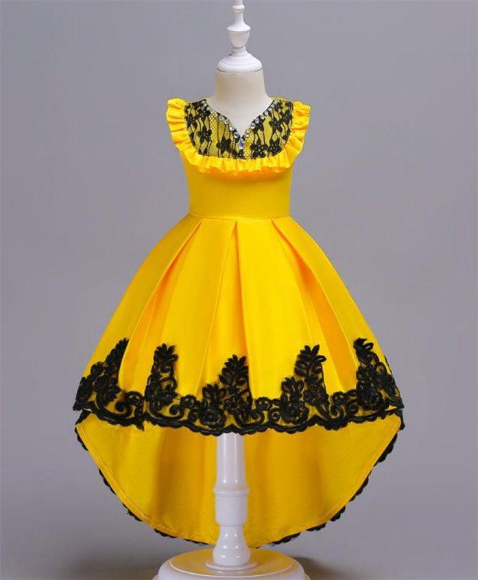 Pre Order - Wonderland High Low Hem Dress With Frills - Yellow